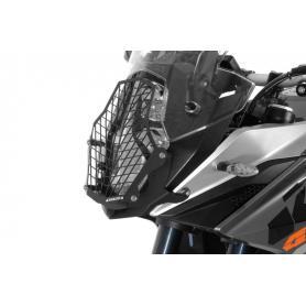 Protection de phare acier inoxydable noir à attache rapide, pour KTM 1050 Adventure/ 1090 Adventure/ 1190 Adventure/ 1190 Adventure R/ 1290 Super Adventure *OFFROAD USE ONLY*